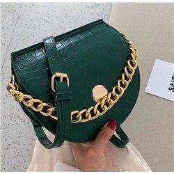 Зеленая кожаная женская сумочка лакированая ALOHA 3004