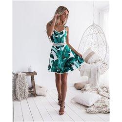 Красивое платье с принтом зеленым ALOHA 1004 белое на лямках