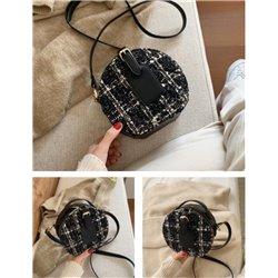Небольшая сумка цилиндр с черной кожи и текстиля ALOHA 3005