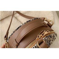Коричневая сумка женская на плечо круглой формы Алоха 3006