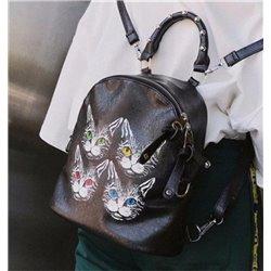 Черный кожаный рюкзачек с принтами 3d с мордочкой кошек Алоха Москва 4001
