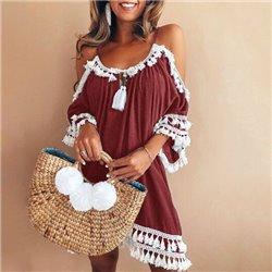 Винтажное платье летнее с открытыми плечами на лямках Aloha 1006