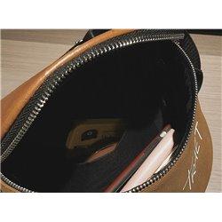 Черная сумка из кожи на молнии артикул ALOHA 3014 с надписями