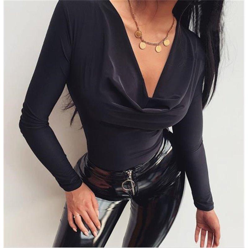 Черный боди под юбку Алоха арт 1023 с рукавами
