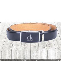 Черный ремень автоматический Calvin Klein с пряжкой серебристой арт 11002