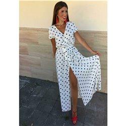 Платье в пол в горошек легкое хб с декольте артикул Aloha 1008