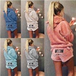 Домашняя пижама плюшевая шорты с кофтой с капюшоном Aloha 1011