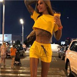 Сексуальный комплект шорты с футболкой желтый или белый Aloha 1012