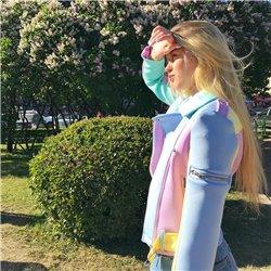 Фетровый пиджак женский Алоха лиловый с голубым арт 1015