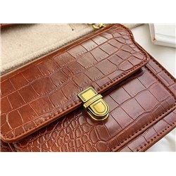 Кожаная сумка мини арт ALOHA 3001 с лямкой через плечо коричневая