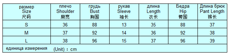 Таблица размеров комплекта одежды шорты футболка